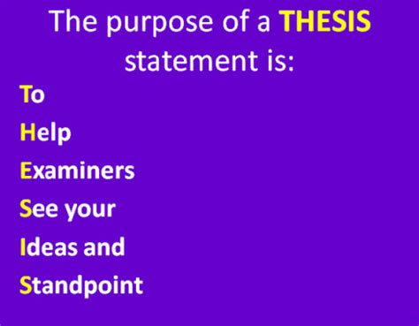 Essay on The Thesis Statement - 647 Words
